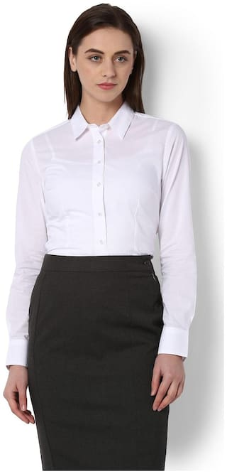 Van Heusen Blended Regular Fit White Shirt