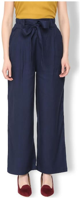 Van Heusen Women Regular fit Mid rise Solid Regular trousers - Blue