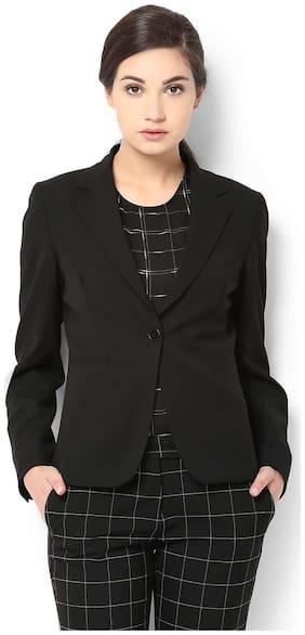Van Heusen Women Solid Regular Fit Blazer - Black