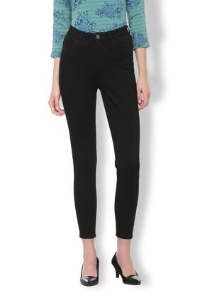 Van Heusen Women Slim Fit Mid Rise Solid Jeans - Black