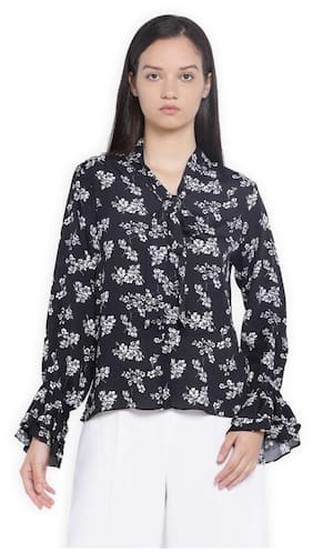 Van Heusen Women Polyester Printed - A-line Top Black