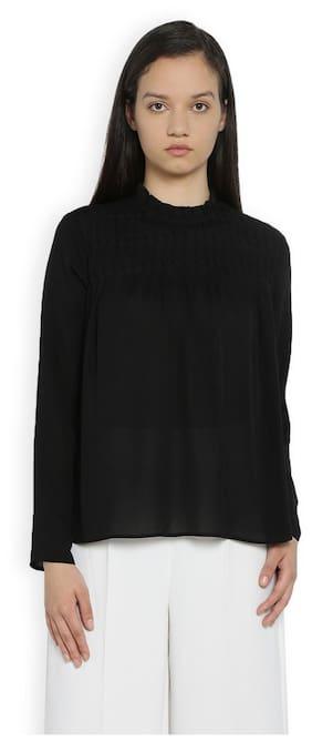 Van Heusen Women Cotton Solid - A-line Top Black