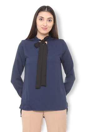 Van Heusen Women Polyester Solid - Regular Top Blue