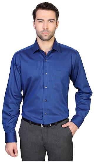 6bb6b8e0 Buy Van Heusen Blue Cotton Comfort Fit Formal Shirt Online at Low ...