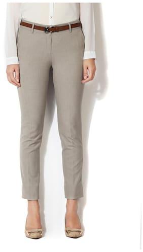 3ba340a4642 Van Heusen Cotton Blend Grey Textured Regular Fit Formal Trouser