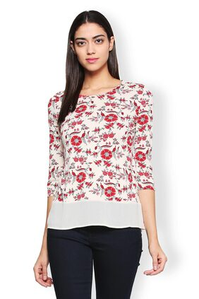 Van Heusen Women Viscose Printed - Regular Top Cream