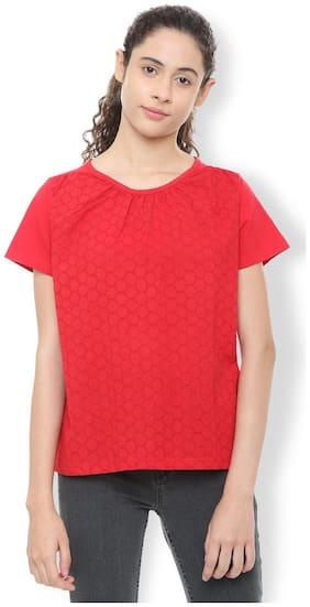 Van Heusen Women Cotton Solid - Regular Top Red