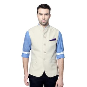 Van Heusen Cream Cotton Nehru Jacket