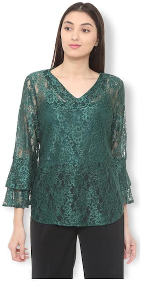 Van Heusen Women Blended Lace - Regular Top Green