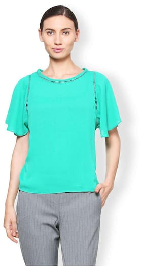 Van Heusen Women Lace Printed - A-line Top Green