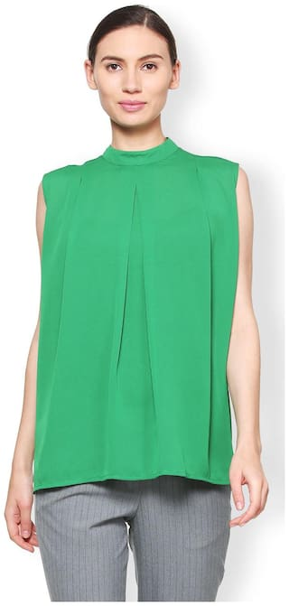 Van Heusen Women Solid A-line top - Green