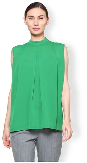 Van Heusen Women Cotton Solid - A-line Top Green