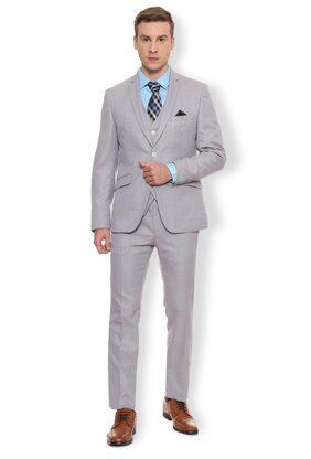 Van Heusen Men Blended Regular Fit Suit - Grey