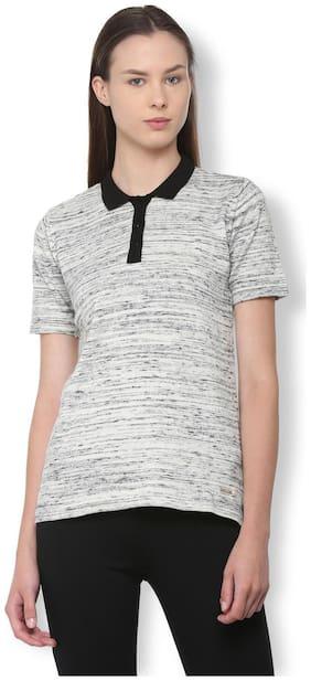 Van Heusen Women Cotton Solid - Regular Top Grey