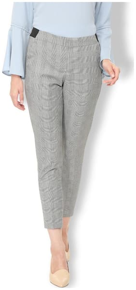 Van Heusen Women Regular fit Mid rise Self design Regular trousers - Grey