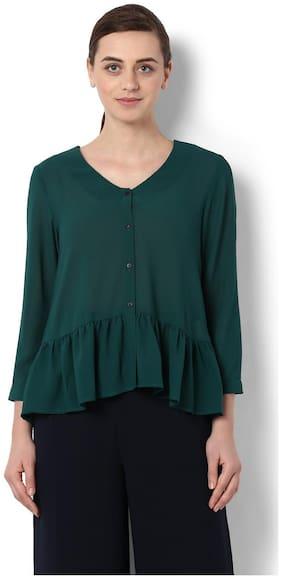 Van Heusen Women Polyester Floral - A-line Top Green
