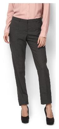 Van Heusen Women Regular fit Mid rise Striped Bootcut pants - Grey