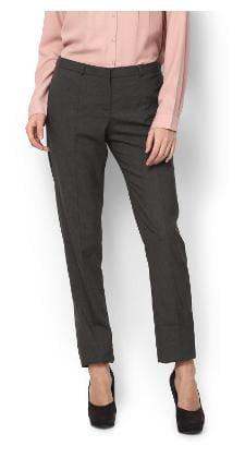 Van Heusen Women Regular Fit Mid Rise Striped Pants - Grey