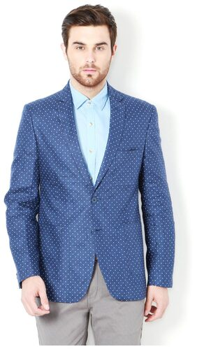 Van Heusen Men Blended Slim Fit Blazer - Blue