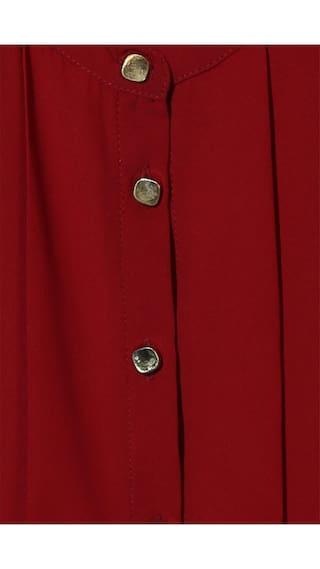Shirt Fit Polyester Maroon Regular Heusen Casual Van Business n0FvqIx