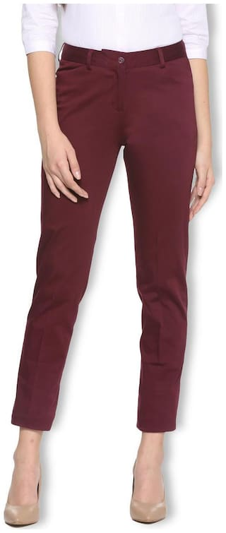 Van Heusen Women Maroon Regular fit Regular trousers