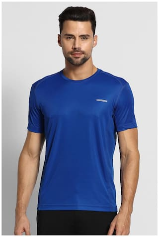 Van Heusen Men Blue Regular fit Polyester Round neck T-Shirt - Pack Of 1