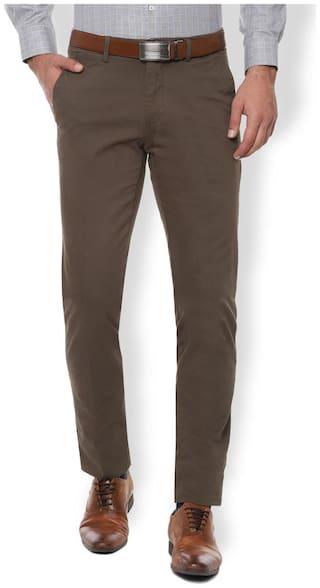 Van Heusen Men Textured Slim Fit Formal Trouser - Brown