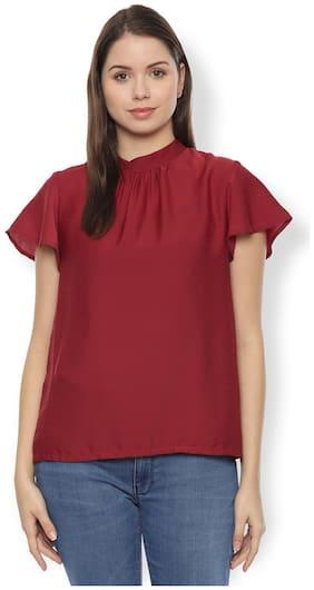 Women Self Design Mandarin Collar Top
