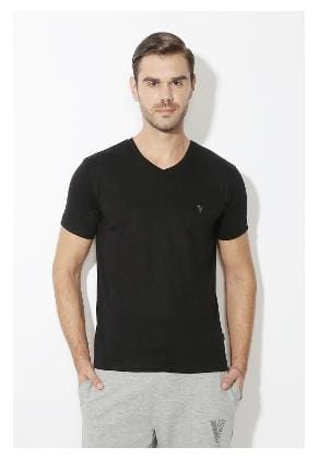 0b434011e2 Buy Van Heusen Men Regular Fit V Neck Solid T-Shirt - Black Online ...