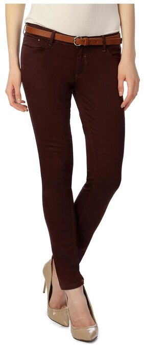 Van Heusen Maroon Cotton Lycra Blend Slim Fit Jeans