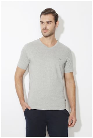 f6028c3534 Buy Van Heusen Men Regular Fit V Neck Solid T-Shirt - Grey Online at ...