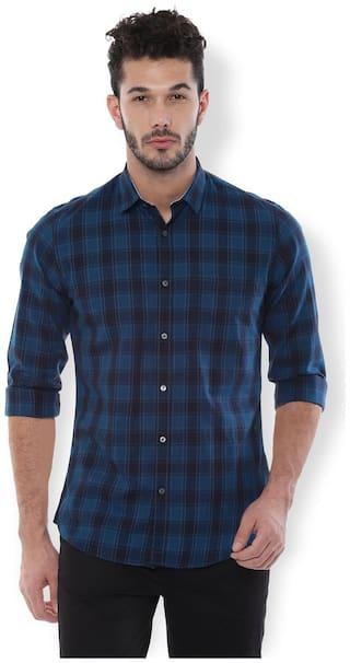 Van Heusen Men Navy Blue Checked Slim Fit Casual Shirt