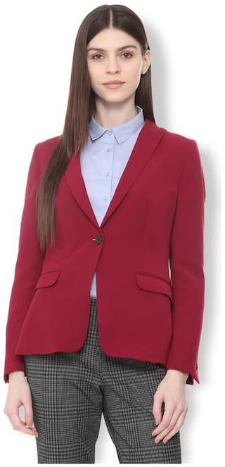 98f76208ae9 Buy Van Heusen Women Solid Regular Fit Blazer - Maroon Online at Low ...