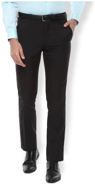 Van Heusen Men Textured Slim Fit Formal Trouser - Black