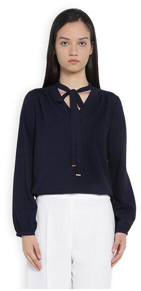 Van Heusen Women Cotton Solid - A-line Top Blue