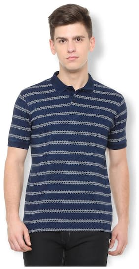 222f8e9188 Van Heusen Men Regular Fit Polo Neck Printed T-Shirt - Navy Blue
