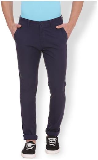 Van Heusen Men Blue Solid Skinny fit Regular trousers