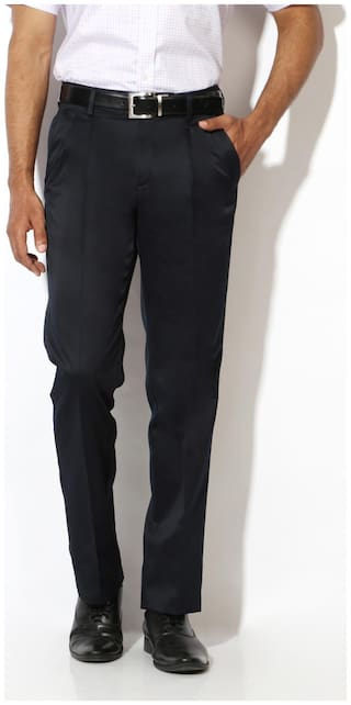 Van Heusen Men Solid Regular Fit Formal Trouser - Blue