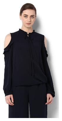 Van Heusen Women Geometric Regular top - Black