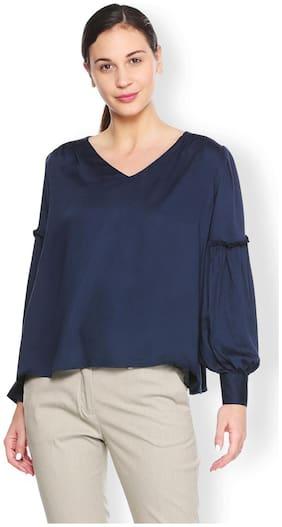 Van Heusen Women Polyester Solid - A-line Top Blue