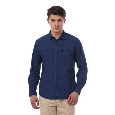 Van Heusen Navy Cotton Blend Regular Fit Party Shirt