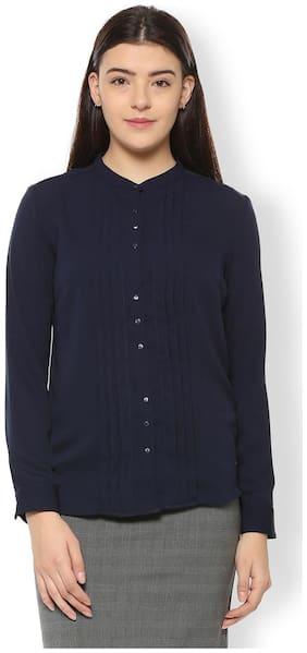 Van Heusen Women Regular Fit Solid Shirt - Blue