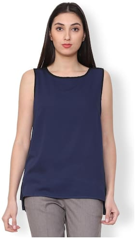 faa45774370a3 Van Heusen Women Polyester Solid - Regular Top Blue