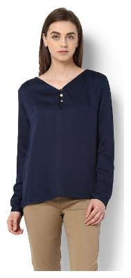 Van Heusen Women Nylon Solid - A-line Top Blue