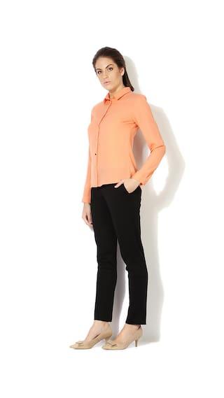 Fit Regular Orange Shirt Van Polyester Business Casual Heusen HqRfZIwT
