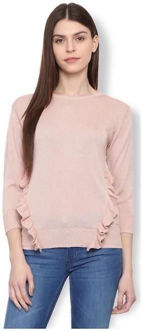 Van Heusen Women Cotton Solid - Regular Top Pink