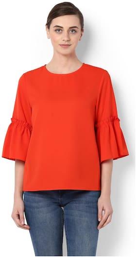 Van Heusen Polyester Regular Fit Orange Top