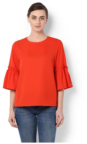 Van Heusen Polyester Regular Fit Orange Top