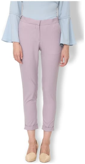 Van Heusen Women Regular fit Mid rise Solid Regular trousers - Purple