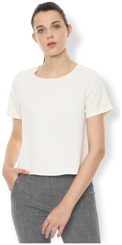 Van Heusen Women Solid Regular top   White